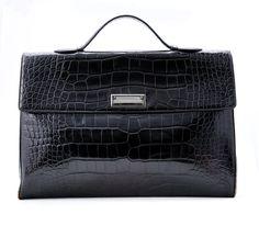 Donna Karan Black Leather Briefcase