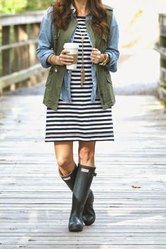 Perfect Fall layering outfit with hunter boots, military jacket, chambray top and striped dress on Peaches In a Pod Blog.