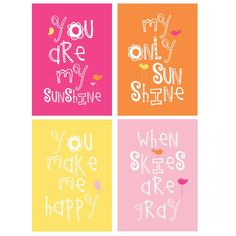You Are My Sunshine Prints 4 pc Set For Girls Bedroom or shared space  5x7 in  hot pink, orange, yellow and sweet pink