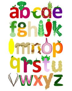 Vegetable & Fruit Alphabet Print, Children's Art for Nursery or Kid's Room Caligraphy Alphabet, Alphabet Print, Letter Art, Letters, Educational Activities For Toddlers, Colorful Artwork, Cartoon Kids, Fruits And Vegetables, Food Art