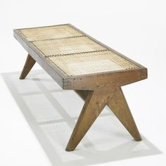 Pierre Jeanneret, Teak and Cane Bench from Chandigarh, c1956.