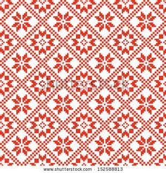 traditional scandinavian pattern. nordic ethnic seamless background. textures in red and white colors. vector illustration  by MaryMo, via S...
