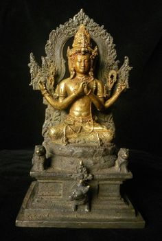 Trimurti sculpture from Java, gilded bronze