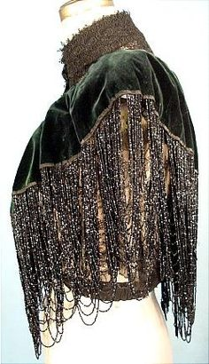 ca. 1880's HOUSE OF WORTH COUTURE  Bottle Green Silk Velvet Beaded Capelet with Black Lace, side view.  [@designerwallace]