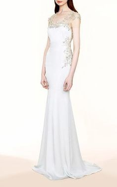 Embroidered Illusion Crepe Gown by Marchesa for Preorder on Moda Operandi