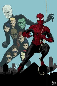 """(Superior Spider-Man """"Team Up Friendly Fire"""" #1 Cover By: Paolo Rivera."""