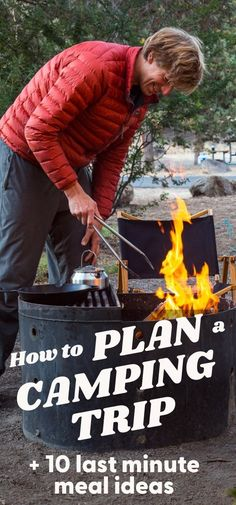 Always be ready to head out camping when the feeling strikes with these camping trip planning tips + 10 easy camping meal ideas that don't require any prep work! Camping Menu, Camping Recipes, Camping Life, Family Camping, Camping Ideas, Tent Camping, Camping Hacks, Fun Easy Recipes, Camping Essentials