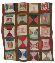 "Loretta Pettway - ""Log Cabin""—twenty-block sampler variation (local name: ""Bricklayer"") - 1958 Cotton and corduroy 82 x 78 inches"