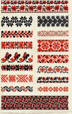 large band knitting charts - 2 or 3 colors Cross Stitch Borders, Cross Stitch Designs, Cross Stitching, Cross Stitch Patterns, Folk Embroidery, Cross Stitch Embroidery, Embroidery Patterns, Knitting Charts, Knitting Patterns