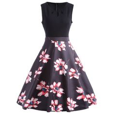 Cut Out Floral A Line Vintage Dress - Black L
