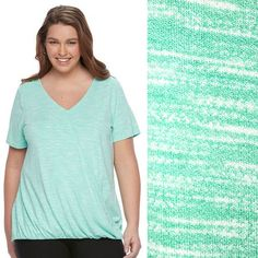 99a8c9154c7b1 Plus Size Crossover V-neck Top APT. 9 Drape Front Bright Green Space Dye NWT