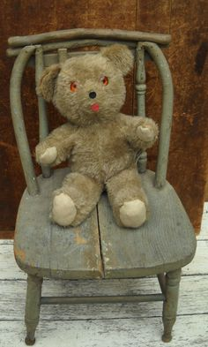 Primitive Old Wood Children Child Toy Doll Chair Make Do Repairs Old Paint