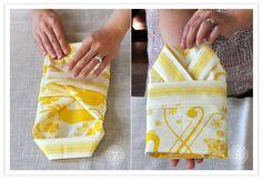 DIY  fold cloth napkins into kimono
