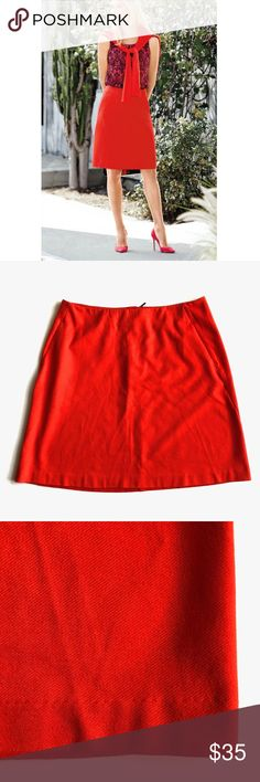 CAbi Fiery Red A Line Skirt Excellent condition - no tears, stain, or holes. Features: side slit pockets (unopened), a line, back zipper closure, soft texture. Measurements laying flat: waist 17.5 inches; waist to hem 21 inches. The perfect skirt for Spring & Summer. CAbi Skirts A-Line or Full