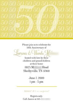 50 anniversary invitations   50th Anniversary Party Invitation « The Official Blog of JessLehry ...