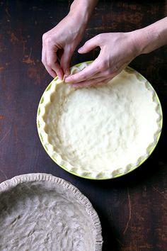 Simple Gluten-Free Pie Dough | 1 cup white rice flour ¼ cup cornstarch 2 tbsp. confectioners' sugar ½ tsp. baking powder ½ tsp. baking soda ¼ tsp. cream of tartar ¼ tsp. salt 7 tbsp. shortening or unsalted butter, cubed and chilled 1 egg, lightly beaten