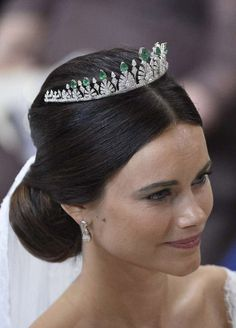 Sofia Hellqvist married Prince Carl Philip of Sweden on June 13, 2015. She wore a new, small diamond and emerald tiara given to her by her new in-laws, King Carl XVI Gustaf and Queen Silvia. Via forbes.com.