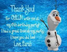 Personalized Frozen Olaf Birthday Party Thank You Note Card by DannisCuteCreations Olaf Birthday Party, Olaf Party, Summer Birthday, Frozen Party, 3rd Birthday Parties, Boy Birthday, Birthday Ideas, Frozen Summer, Birthday Thank You Notes