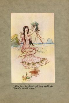 """The book of fairy poetry, 1920  Illustrations by Warwick Goble    """"What form she pleased each thing would take  That e'er she did behold."""""""