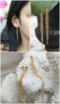 Long and delicate pair of 14k gold fill earrings, made with tiny ball posts studs and shimmering hand made chain tassels. Beautifully elegant and modern. The chain tassels sway with every move - creating great movement and sparkle.  Total length - 2.5 inches You will receive a PAIR :)  Components: 14Kt Gold filled 3mm ball ear studs with 14k gold filled posts 14k gold filled chains  *14k gold filled components are made with a layer of pure gold over brass base. What you see and what comes in…
