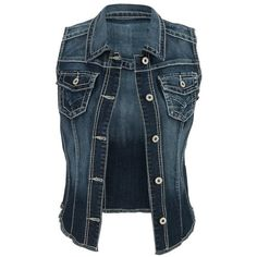 Maurices Women's Dark Wash Denim Vest With Fray Hem at Amazon Women's... ($29) ❤ liked on Polyvore featuring outerwear, vests, maurices, blue vest, denim vest, vest waistcoat and denim waistcoat