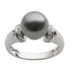 Sterling Silver Black Tahitian Pearl and Diamond Ring (H-I, SI1-SI2) (10-11 mm)   Overstock.com Shopping - The Best Deals on Pearl Rings