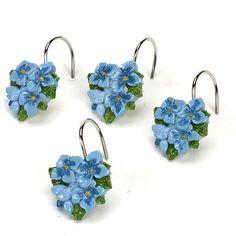 Lenox Blue Floral Garden Shower Curtain Hooks