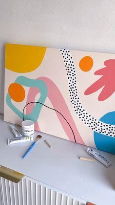 Easy Canvas Painting, Diy Canvas Art, Cuadros Diy, Geometric Shapes Art, Sailboat Art, Wall Drawing, Shape Art, Art Party, Bedroom Art