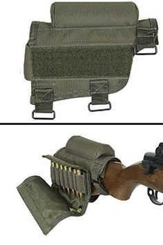 Ultimate Arms Gear Rifle Ammo Round Shot Shell Cartridge Hunting Stock Buttstock Cheek Rest Carrier Case Holder Fits .308 300 Winmag AR15 M4 M16, OD Olive Drab Green. Ambidextrous design Rifle Butt Stock Ammunition Cheek Rest Cartridge Holder. Non-slip padded cheek rest. Zippered utility pouch. Triple strap adjustment. Removable center pad to lower eye relief. Removable covered 7 round ammo carrier for 308 or 300 winmag. Removable center pad to lower eye strain. Provides a padded cheek weld…