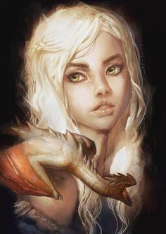 dragonspiritblog: Mother of dragons Daenerys by lehuss.