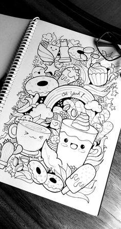 Cute Doodle Art, Doodle Art Designs, Doodle Art Drawing, Pencil Art Drawings, Art Drawings Sketches, Easy Drawings, Cute Art, Cute Kawaii Drawings, Kawaii Doodles