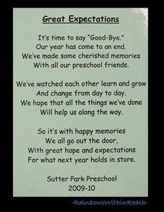 Poem for end of School, Preschool rhyme for goodbye. Change to Kindergarten Preschool Poems, Preschool Classroom, Preschool Graduation Poems, Preschool Activities, Preschool Memory Book, Classroom Ideas, Preschool Projects, Classroom Projects, Work Activities