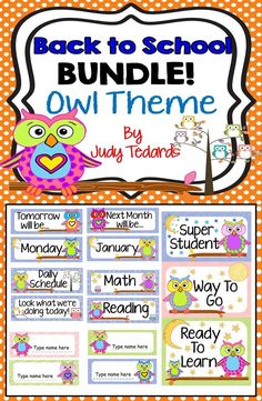 """I have included 4 of my individual """"Owl Theme"""" products in this Back to School Bundle. Your classroom will look adorable with this coordinated material. Included in this packet is: Daily Schedule Cards, A Behavior Clip Chart, Days of the Week/Months of the Year Cards, and Editable Desk Name Tag Cards. Click on the preview to see what is included."""