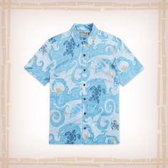 """FREE SHIPPING – EVERY ORDER, EVERY DAY! Kahala Hawaiian Shirt """"Ocean Play"""" – Wave Watch the sea turtles swim by as you discover the frolicking fun of the ocean that comes alive in this playful, painterly print! http://hawaiianshirtdude.com/product/kahala-hawaiian-shirt-ocean-play-wave/"""