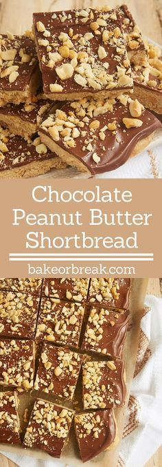 If you love chocolate and peanut butter, do not miss these quick and easy Chocolate Peanut Butter Shortbread. A favorite one-bowl dessert! - Bake or Break