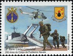 Sello: 200 years of the Marine Corps (Brasil) (Militares) Mi:BR 3532,WAD:BR010.08,RHM:BR C-2730