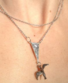 Silver plate fine doublechain necklace with triangle by lulukoru, $25.00 lulukoru on Etsy - gorgeous