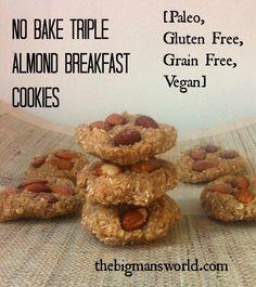 No Bake Triple Almond Breakfast Cookies- #Paleo #glutenfree #grainfree and #vegan! Ready in 5 minutes FLAT!