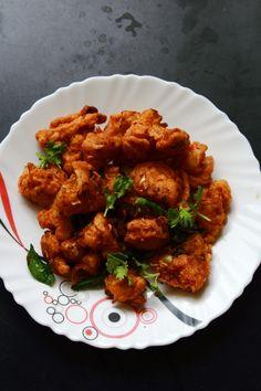 gobi 65 recipe, fried cauliflower recipe, tasty and easy gobi 65 South Indian food recipe, tasty starter or snack recipe.