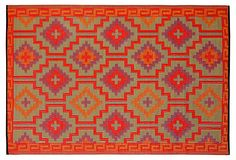 Fab Habitat, Lhasa Plastic Outdoor Rug, Orange - Crafted from recycled plastic straws, it's reversible. India 3'x5'-6'x9'  $29-89 - orig. $50-150