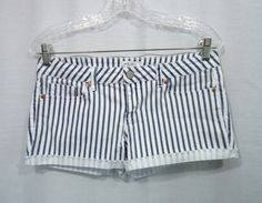 Juniors AEROPOSTALE White/Navy Striped Denim Shorty Jean Shorts, Size 7/8 #Aropostale #Denim