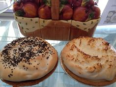 Fluffy Chocolate and Coconut Meringue pies.