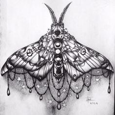 Jewel/moth sternum tattoo