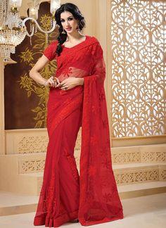 Enchanting #Red #Net #Saree