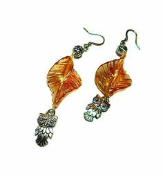SALE Darling Opalecent Twisted Peach Leaf Drop Earrings w/Dangling Silver Pineapple-Eyed Owl Charms & Metallic Balls Xmas Gift FREE SHIPPING - Only $5.69 on Etsy! https://www.etsy.com/listing/217923372/sale-darling-opalecent-twisted-peach