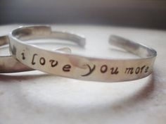 I love you more handstamped nickel silver hammered cuff bracelet on Etsy, $15.00
