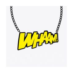 WHAAM! Necklace ($34) ❤ liked on Polyvore featuring jewelry, necklaces, accessories, acrylic jewelry, yellow jewelry, lucite necklace, yellow necklace and kohl jewelry