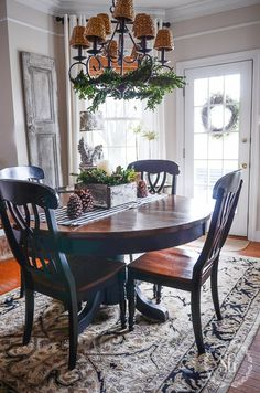 A STARRY CHRISTMAS TOUR shows off StoneGable decked out for Christmas. This tour features the downstairs in all its holiday finery! Dining Nook, Dining Room Lighting, Dining Table, Fine Dining, Christmas Kitchen, Christmas Home, Christmas Vignette, Christmas Holidays, Christmas Ideas