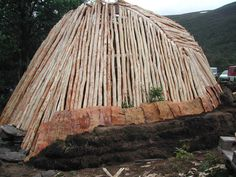 Building a goahti! REALLY cool scandinavian primitive sod shelter! Maybe as cold storage?