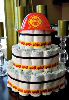 fireman theme baby shower | This Little Home of Mine: Diaper Cakes & Baby Showers